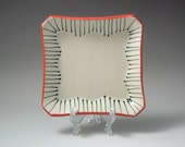 Black and White stripe with Red border Square Tray/Dessert Plate No. 1 handmade by Whitney Mitchell