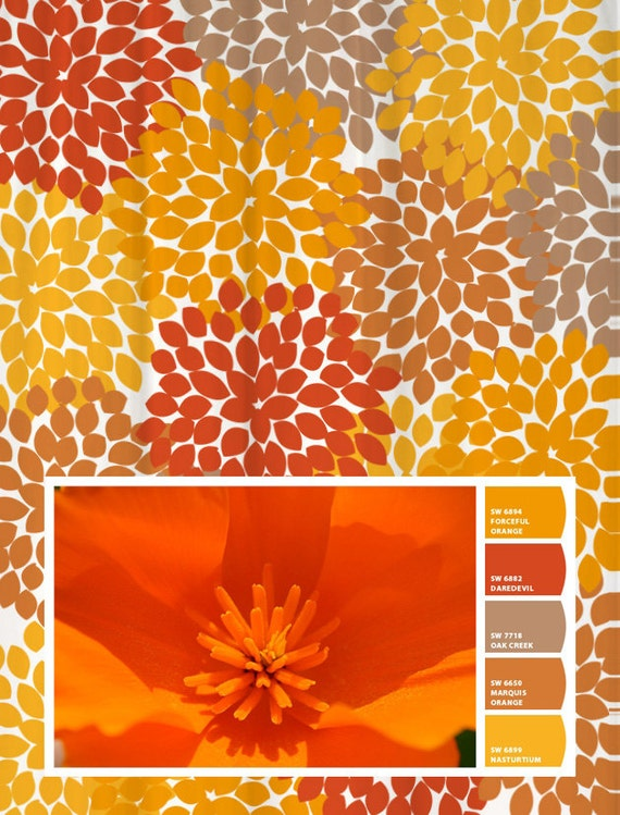 Shower Curtain Orange Yellow Poppy Inspired Floral Standard and Long ...