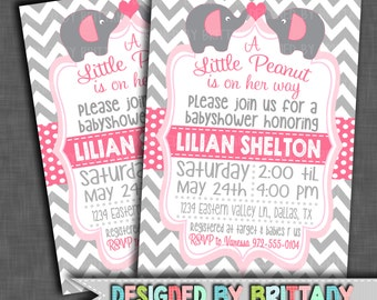 Little Peanut - Pink and Gray Baby Shower Invitation - Printable