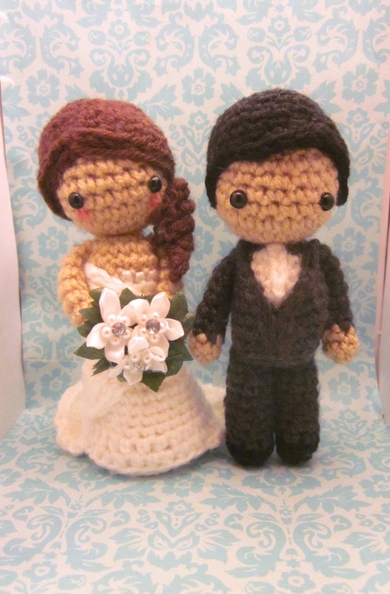 Free Amigurumi Patterns Owls : Items similar to Custom Bridal Couple Bride and Groom ...