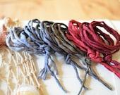 Hand dyed Silk Cords  - Set of 6 - wine grey black silk strings