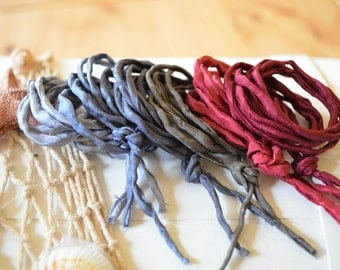 Hand dyed Silk Cords  - Set of 6 - wine grey black silk strings