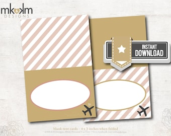 Travel Bridal Shower : Tent Cards - Food Cards - Place Cards - Airplane - INSTANT DOWNLOAD - #3102 Blush & Gold
