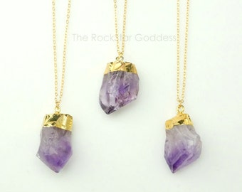 Amethyst Necklace ⊿ Raw Amethyst ⊿ Amethyst Necklace ⊿ February Birthstone ⊿ Amethyst Pendant ⊿ Gold Amethyst