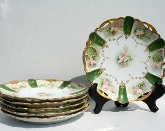 Antique Lunch Plates Rosenthal China Rose Gold and Green R. C. Lion D'Or Set of 6 Lunch Plates Hand Painted