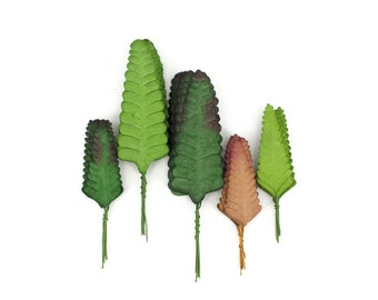 50 Paper Fern Leaves- Assorted green & brown paper leaves with wire stems - Great for wedding decorations and creative craft projects