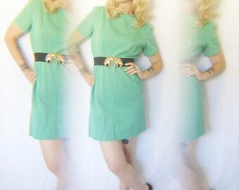 Vintage 1950s Pastel Green Textured Cotton Wiggle Cut Day Dress- Medium