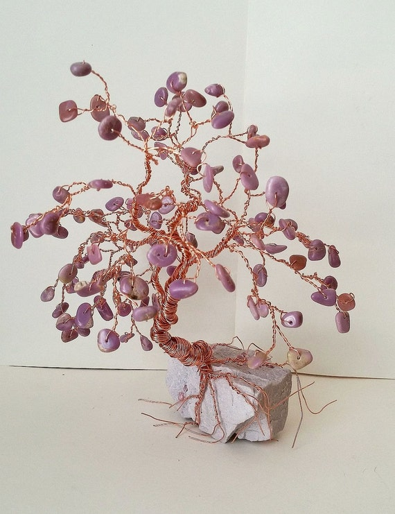 Copper BONSAI WIRE TREE Sculpture Purple Phosphosiderite on Lepidolite Rock Base - Tree Home Decor, Reiki Energy Healing, Yoga Gifts