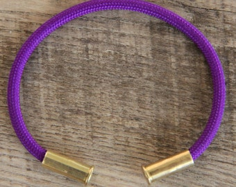 Bullet Casing Bracelet Electric Purple 550 Paracord BRZN