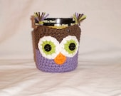 Ice Cream Pint Cozy - Brown and Purple Owl -- Hand Crafted