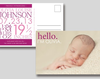 Birth Announcement Postcard with Photo -  Printable