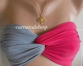PADDED Spandex Bandeau-Swimwear -Swimsuit-Bikini top-sunbathing-twist-hot pink and grey