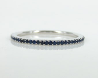 Micro Pave Sapphire 18k White Gold Eternity Band
