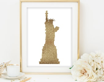 statue of liberty print gold statue of liberty printable new york city wall art print NYC printable gold NYC print gold print gold wall art