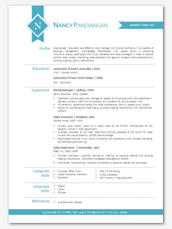 modern microsoft word resume template nancy by inkpower on etsy