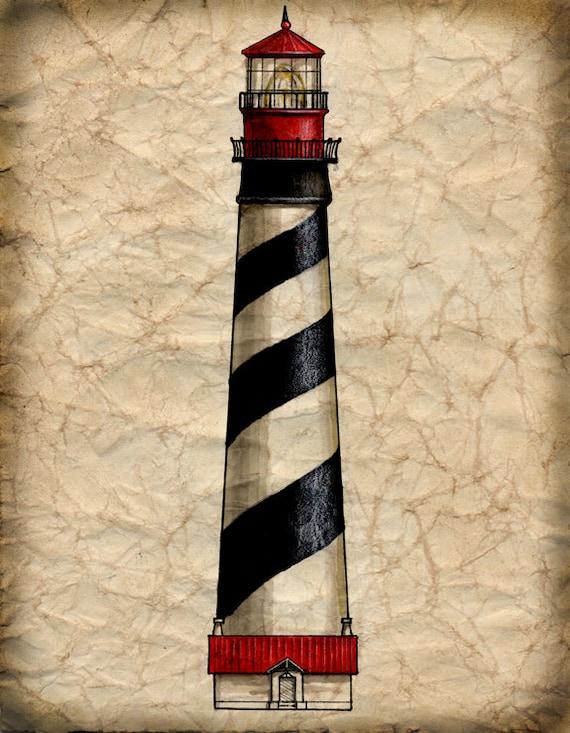 St Augustine Lighthouse Artwork 11 X 14 Saint Augustine