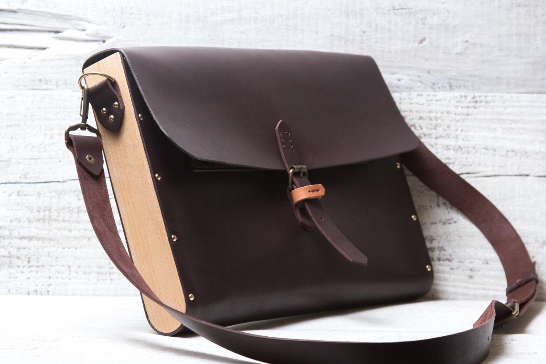 Leather wood briefcase messenger bag. Hand stitched dark