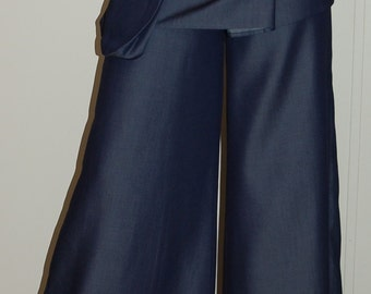 Denim  Wide Leg Pant With Detachable Wrap Mini Skirt  and Pocket