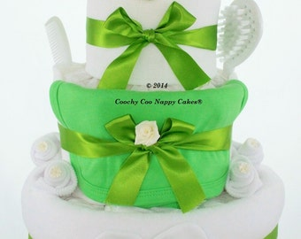 Three Tier Bathtime Frog Baby Nappy Cake - FREE Delivery