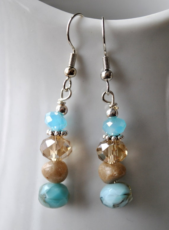 Petoskey stone nugget earrings with champagne and blue Czech glass and blue crystals