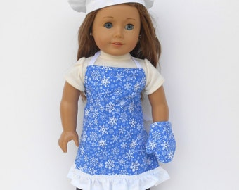 Blue Snowflake Doll Apron, Chef's Hat, Oven Mitt, Chef's Set, 18 Inch Doll Clothes, Winter Doll Clothes, Christmas Apron
