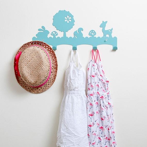 Woodland coat rack nursery wall hanger kid 39 s coat for Kids room hooks
