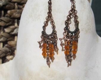 Copper Dangling Star Earrings