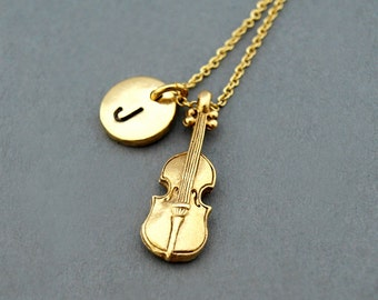 Violin Necklace, string instrument, initial necklace, initial hand stamped, personalized, antique gold, monogram