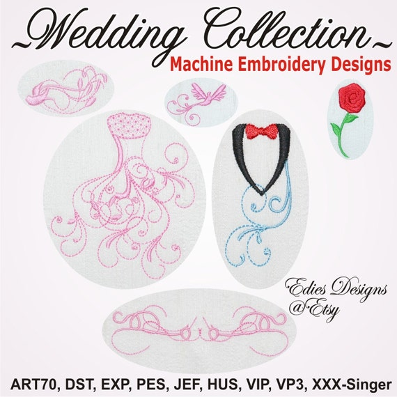 Machine embroidery wedding designs makaroka