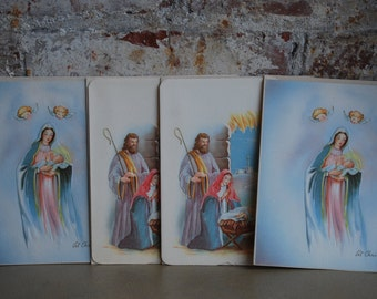 Vintage Christmas Greeting Cards, New Old Stock, Nativity