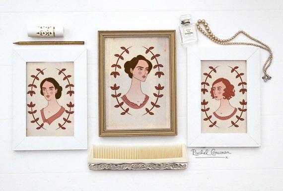 DOWNTON ABBEY Portraits - Downtown Abbey - Crawley Sisters - Brown - Pink - Folk Woodland Illustration - Floral Garland