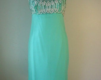 1960s Aqua Chiffon Dress with Elaborate Sequinned & Beaded Design