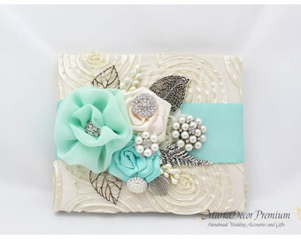 READY TO SHIP Wedding Lace Guest Book Custom Bridal Brooch Guest Books in Ivory and Mint with Flowers, Brooches, Crystals, Rhinestones