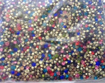 100pcs 2.1mm - 7SS - PP15 Mixed Color Glass Crystal Rhinestone Chatons Cone Back