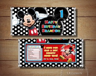 ANY AGE Printable Mickey Mouse Birthday Candy Bar Wrapper, Red Blue Mickey Mouse Candy Bar Wrapper, Mickey Mouse Birthday Party Printables