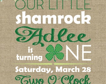 Printable st. patricks day first birthday party invitations Burlap and chevron design with shamrock
