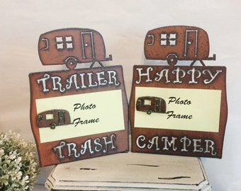 HAPPY CAMPER or TRAILER Trash Photo Picture Frame made of Rusted Rusty Rustic Recycled metal