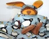 Baby Blanket with Bunny, Security Blanket, Penguin blanket, waldorf bunny stuffed rabbit snowflakes sledding  baby shower gift, winter baby