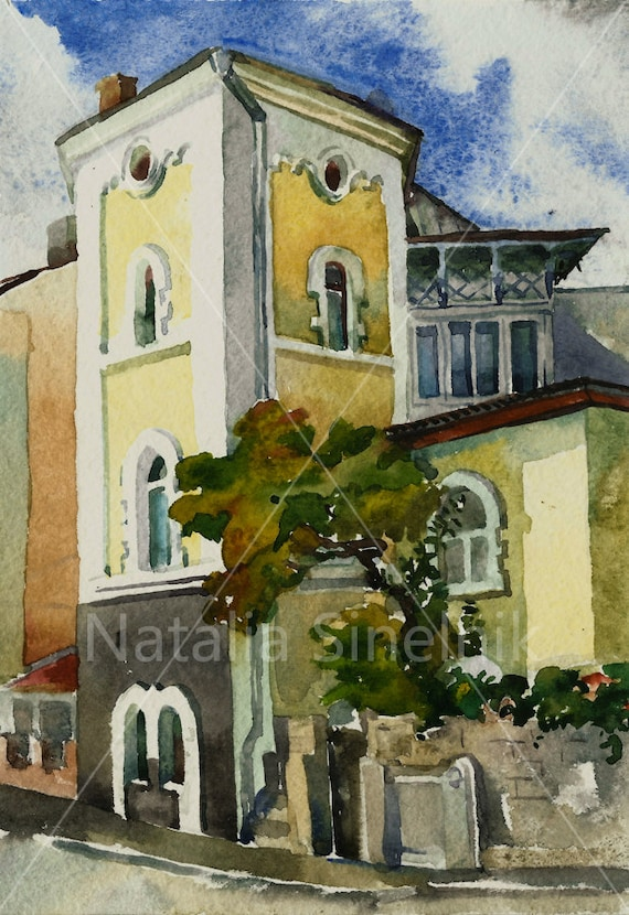 Old house with a tower building architectural landscape digital download from original watercolor Yalta Crimea street clipart