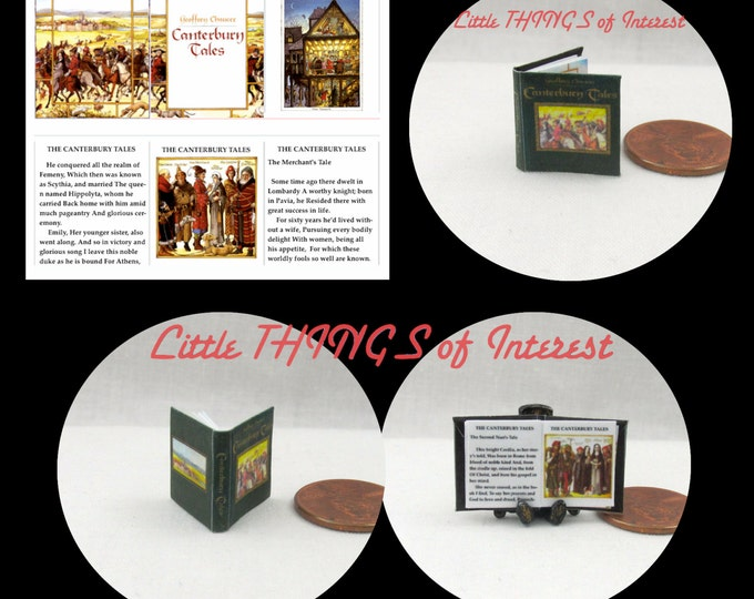 The CANTERBURY TALES and Other POEMS by Geoffrey Chaucer Miniature Book Dollhouse 1:12 Scale Illustrated Readable Book