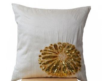 Cream Throw Pillows- Gold Flower Pillow- Sequin Pillows- Cream Gold Cushion - Chrysanthemum Flower Cushion - 16x16- Gift- Couch Pillow- Sofa