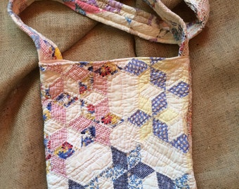 Handmade Shabby Chic Vintage Cutter Quilt Purse/Bag