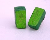 Glittery Green Rectangles!  ReCycled Wood Earrings Handmade One Of A Kind - FeathandKee