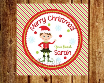 Personalized Christmas Elf DIY Printable Favor Tags or Gift Tags- Customized for you!