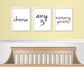 Nursery Wall Art - Nursery Prints - Choose Set of 3 Nursery Art Prints - Any 3 Prints