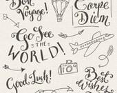 Travel Photoshop Overlays // Clip Art Editable Vector EPS and PSD // World Traveler Good Luck Best Wishes Bon Voyage // Digital Brush Stamp