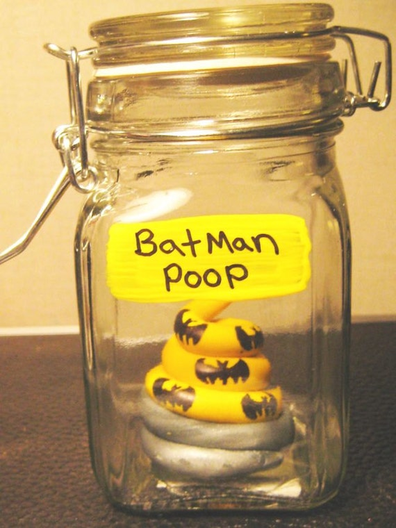 Batman Poop in a Jar/ Specimen Jar / Comic Book/ Unicorn poop/Fantasy Geekery Voodoo Zombie, Fairy, Oddities Shelf