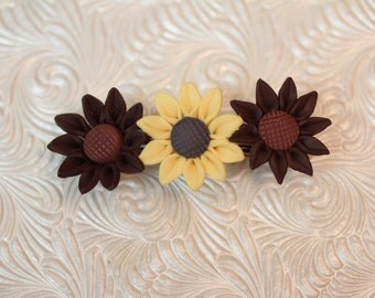 Beautiful handcrafted barrette with sunflowers