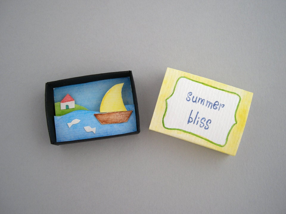 Summer bliss matchbox art paper art diorama nautical theme for Blank matchboxes for crafts