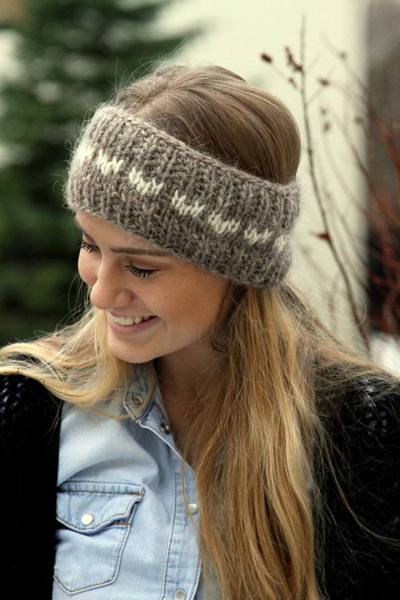 Bandeau en laine islandaise, bandeau tricoté, avoine foncé, cache-oreilles, coeurs blancs, chaud, confortable, fabriqué sur commande